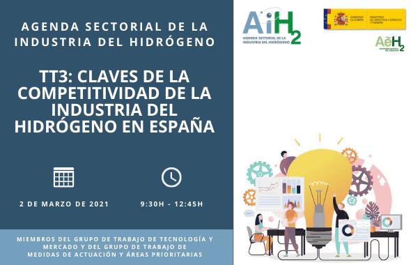 """El tercer Taller de Trabajo de la Agenda Sectorial """"Claves de la Competitividad de la Industria del Hidrógeno en España"""" tendrá lugar el próximo 2 de marzo de 2021"""