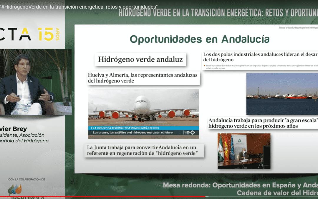 """La AeH2 participa en la jornada """"Hidrógeno verde en la transición energética: retos y oportunidades"""" organizado por CTA e Iberdrola"""